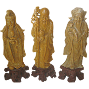 SALE Chinese SoapStone Carving of Fu, Lu and Shou - Good Fortune, Prosperity & Longevity