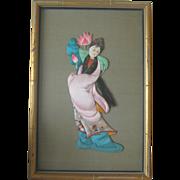 Japanese Frame Ningyo (Doll) of Immortal Woman He Xan Gu.