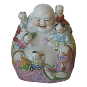 "Large 10 1/4"" Laughing Buddha With 5 Children"
