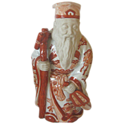Kutani Porcelain Statue of a Sage - Unusual Red Coloring