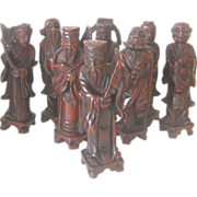 Chinese Carved Wood Statues of the 8th Immortals