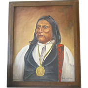 Large Painting of Indian Chief Big Bow - A Kiawa Indian Chief