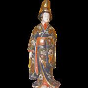 """14"""" Tall Japanese Moriage Statue of Beautiful Lady with Fan - C 1900 - Kutani"""