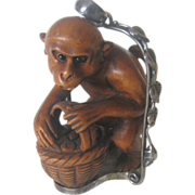 Monkey Wood Netsuke Pendent Set in 925 Sterling