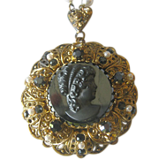 Juliana (D&E) Cameo Necklace with Faux Pearls & Black Rhinestones