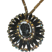 Juliana Black Cameo Necklace With Rhinestones and Gold Tone Necklace