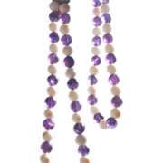 SALE Coral and Amethyst Beads Necklace
