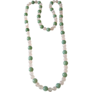 "SALE Rare Jade and Rose Quartz 37"" Long Necklace - Rare Jade Color"