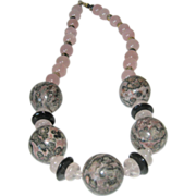 SALE Rose Quartz Necklace with Large 19MM Rhodonite Beads