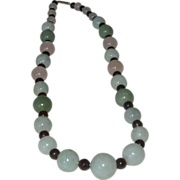 SALE Necklace with Various Colors of Jade With Rose Quartz and Garnet Spacers