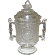 SOLD EAPG Swan and Mesh Covered Sugar - Canton Glass 1882