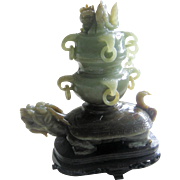 SOLD Gorgeous Turtle Dragon Jade Incense Burner - Two Colors -