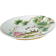 Early Japanese Hand Painted Charger with Peonies, Birds and Tree Branches.
