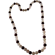 SALE Rose Quartz and Carnelian Beads Necklace