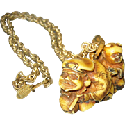 SALE Asian Influence Miriam Haskell Gold Tone Necklace with Netsuke Pendant