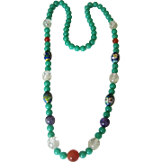 Green Glass Bead  Necklace with Amethyst, Carnelian, Rock Crystal and Cloisonne Beads