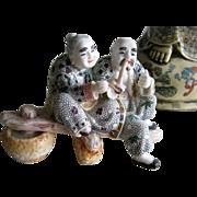 Japanese Figurine of Elder Couple Sitting on Bench