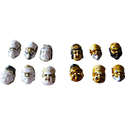 Six Signed Japanese Resin Buttons of the Lucky Gods and Six Milk Glass Non-Buttons of Immortal