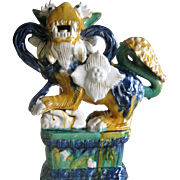 "Large 16"" Sancai Glaze Foo Dog"