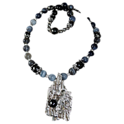Rustic Hand-Crafted Silver Hewed Pendant Quartz Beads