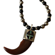 REDUCED Unisex Artisan Tooth Pendant with Onyx Opal Medallion