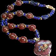 REDUCED Cloisonné Cobalt Peking & Carnelian Art Glass Medallion Necklace