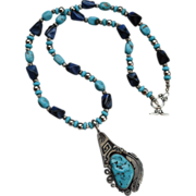 REDUCED Southwestern Sterling Natural Kingman Turquoise Nugget Necklace