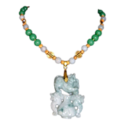 Ancestral Arts bold PI XIU Dragon Apple Jadeite Pendant Necklace