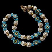 SALE Vintage Murano Beaded Talisman Swirl Turquoise Crystal Necklace