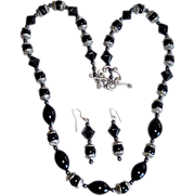 REDUCED Retro Black Jet Glass  Embossed Mourning Necklace Set