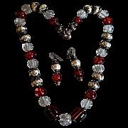 REDUCED Vintage Lucite / Faux Baroque Pearl Haskellesque Necklace Set