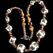 REDUCED Tribal  Motif Art Wear Jumbo Beaded TigerEye Necklace