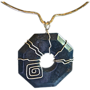 REDUCED ARTISAN Moderist Hexagon shaped Dumorticrite Pendant Necklace