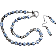 REDUCED Oriental Blue White Hand-painted Porcelain Silver Bead Set