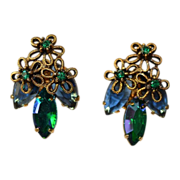 Vintage Royal Blue Aurora Borealis Navettes Earrings