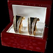 Alluring Black Enamel  & Swarovski Crystal Earrings