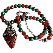 Asian Carved Natural Blood Jade Malachite Necklace