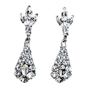 Vintage Albert Philippe Trifari Rhinestone  Dangle Earrings