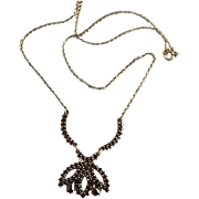 REDUCED Lovely Mid Century Claret Garnet 12K Gold Plate Necklace