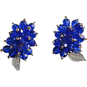Vintage Cobalt Blue Beaded Crystal Dress Clips