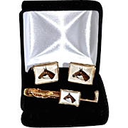 REDUCED Vintage Reverse Painted Glass Polo / Horse Cufflink Set