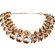 Vintage Art Nouveau Style Peacock Crystal Link Bracelet