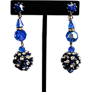 SALE Peacock Blue Austrian Crystal & Rhinestone Chandelier Earrings