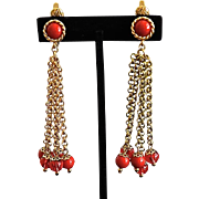 Vintage Trifari Duster Red Lucite Balls Earrings