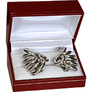 REDUCED Vintage 70's Silver tone Clip-Style Earrings by Bergere