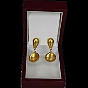 SALE ROBERT LEE MORRIS stunning 18K Gold Plate Polished Matte Earring Drops.