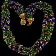 SALE Vintage Multi-Colored 6 Strand Murano Glass Torsade Necklace