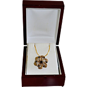 SALE Vintage Victorian Style Floral Pinwheel Gold Tone Necklace