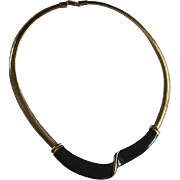 SALE Retro Glossy Black Enamel Gold Tone Necklace Collar