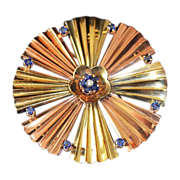 REDUCED Art Deco Sapphire Diamond 14kt Rose Yellow Gold  Brooch